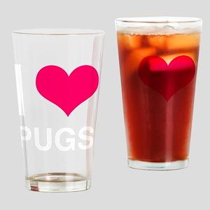 I heart Pugs-over-black Drinking Glass
