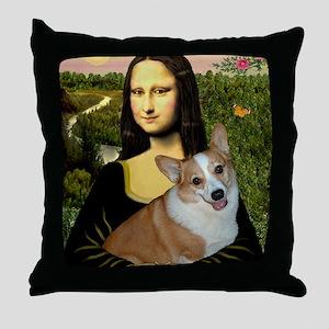 Poster-small-Mona-Corgi L Throw Pillow