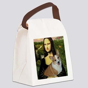 Poster-small-Mona-Corgi L Canvas Lunch Bag
