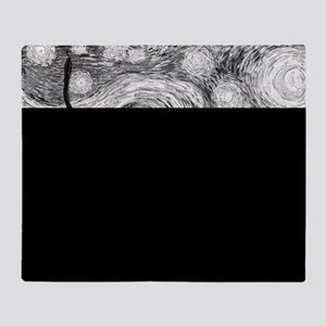 Starry Night - Black and White Monoc Throw Blanket