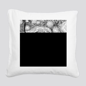 Starry Night - Black and Whit Square Canvas Pillow