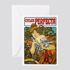 Cycles Perfecta by Alphonse Mucha Greeting Card