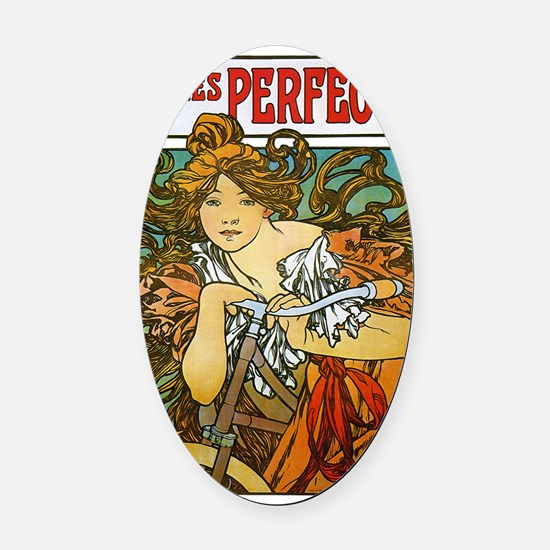 Cycles Perfecta by Alphonse Mucha Oval Car Magnet