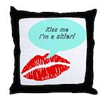 Kiss me I'm a skier Throw Pillow