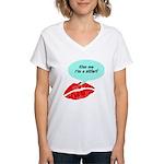 Kiss me I'm a skier Women's V-Neck T-Shirt