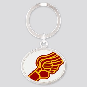 red-gold-miscbleed5 Oval Keychain