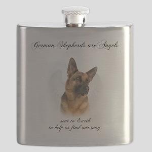 German Shepherd Angel Flask