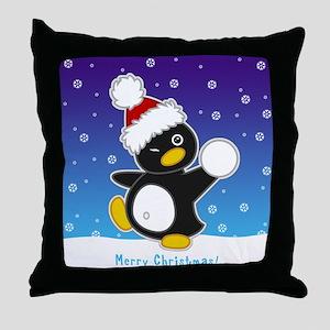 Snowball Penguin Throw Pillow