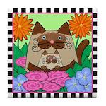 Siamese Mom Cat &Amp; Kitten With Flowers Tile Coa