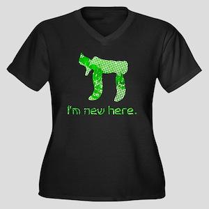 hi_new Women's Plus Size Dark V-Neck T-Shirt