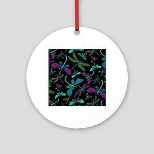 dragonfly-m1-black copyu Round Ornament
