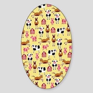 Farm Animals Sticker (Oval)