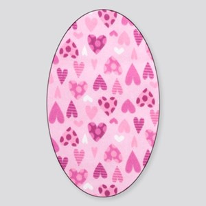 Hearts Pinks Sticker (Oval)