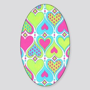 Hearts Lime Sticker (Oval)