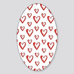Red Sweet Hearts Sticker (Oval)