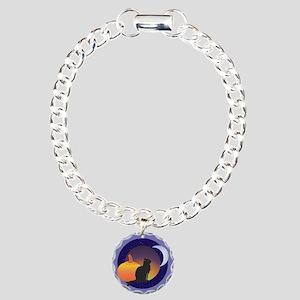Black Cat & The Moon Charm Bracelet, One Charm