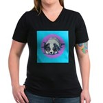 Australian Shepherd Puppy Women's V-Neck Dark T-Sh