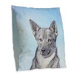 Swedish Vallhund Burlap Throw Pillow