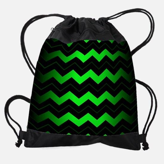 Green Chevron Drawstring Bag