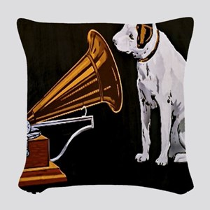 His Masters Voice Woven Throw Pillow