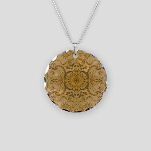 damask vintage Necklace Circle Charm