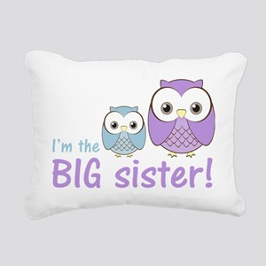 owlbigsispurpleblue Rectangular Canvas Pillow