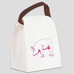 Hot Pink Pig Canvas Lunch Bag