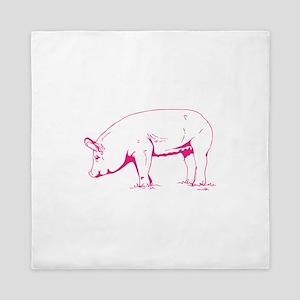 Hot Pink Pig Queen Duvet