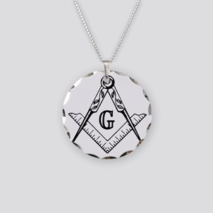Square and Compasses Necklace Circle Charm