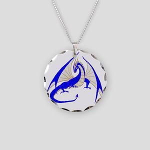 blue dragon Necklace Circle Charm