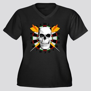 Darts_skull Women's Plus Size Dark V-Neck T-Shirt