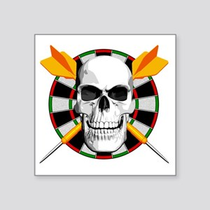 "Darts_skull_blk Square Sticker 3"" x 3"""
