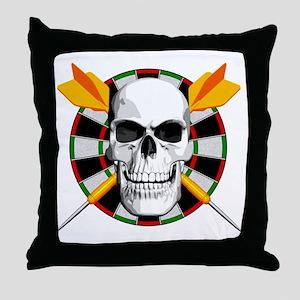Darts_skull_blk Throw Pillow
