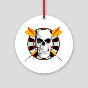 Darts_skull_blk Round Ornament