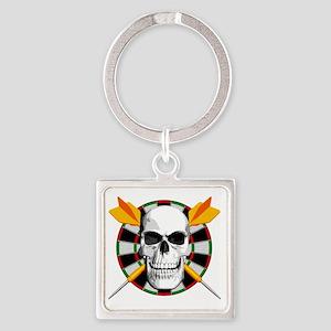 Darts_skull_blk Square Keychain