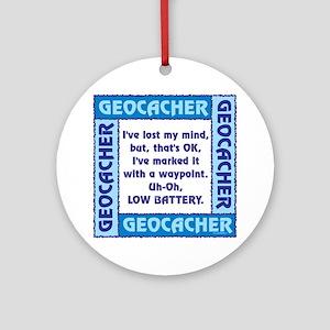Blue Geocacher Lost Mind Ornament (Round)