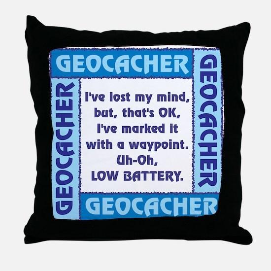 Blue Geocacher Lost Mind Throw Pillow