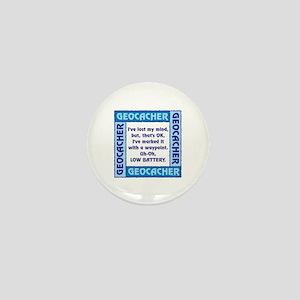 Blue Geocacher Lost Mind Mini Button