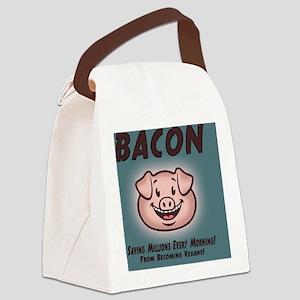 bacon-vegan-TIL Canvas Lunch Bag