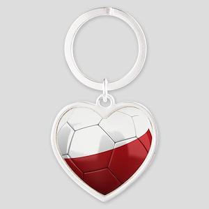poland round Heart Keychain