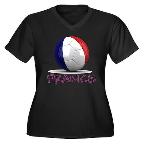 france Women's Plus Size Dark V-Neck T-Shirt