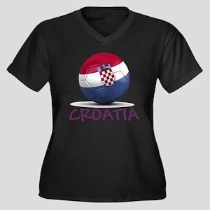 croatia Women's Plus Size Dark V-Neck T-Shirt