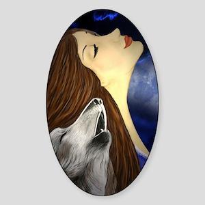 womanofwolves Sticker (Oval)