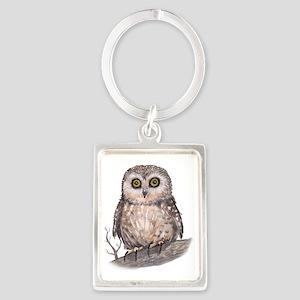 Wide Eyed Owl Portrait Keychain