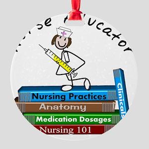 Nurse Educator BOOK STACK Round Ornament