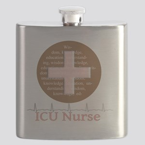 ICU Nurse Brown Circle Flask
