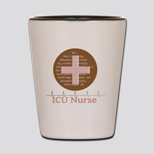 ICU Nurse Brown Circle Shot Glass
