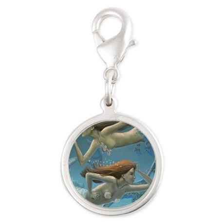 siren sisters for prints Silver Round Charm