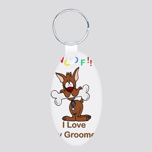 woof I love my groomer copy Aluminum Oval Keychain