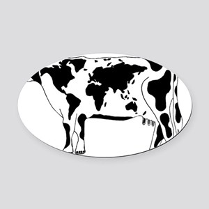 Cow Map Oval Car Magnet